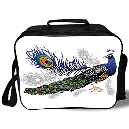Peacock Decor 3D Print Insulated Lunch Bag,Male Peacock Feathers Springtime Wilderness Crowned Majestic Animal Pattern Decorative,for Work/School/Picnic, ()