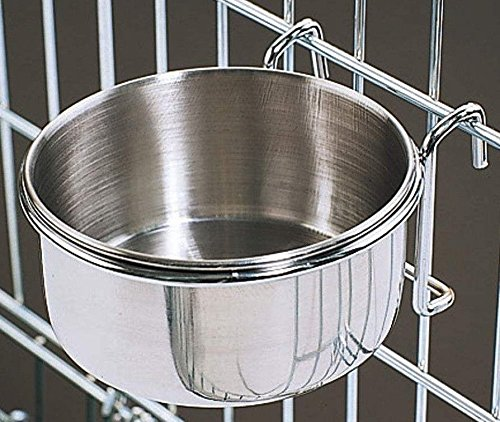 10 Oz. Stainless Steel Cage Coop Cup Bird Cat Dog Puppy Food Water Bowl pet travel
