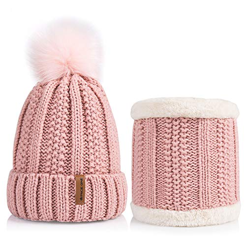 - PAGE ONE Womens Winter Thick Slouchy Chunky Beanie Scarf Set Faux Fur Pom Fleece Lined Skull Cap (Pale Pink)