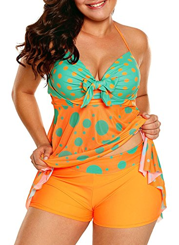 Dearlove Summer Womens Sexy Halter Printed Open Back Tankini Top Set Two Piece Swimsuits With Shorts Swimdress Swimwear Plus Size X-Large Orange Halter Stretch Shorts