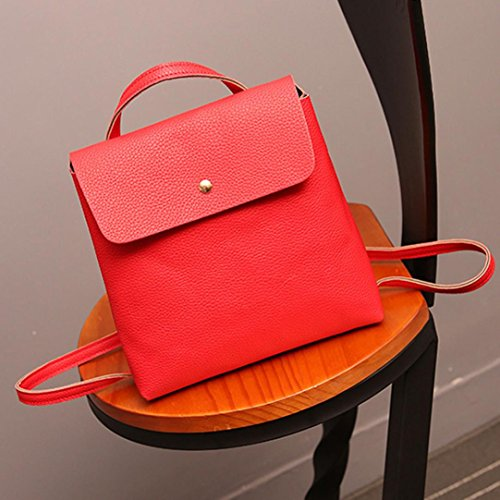 Leather Rucksack Fashion School Red Bags Satchel Bag Inkach Purse Backpack Travel Womens tvqxwvpTI