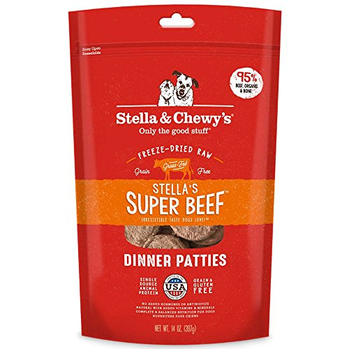 Stella & Chewy's Freeze-Dried Raw Stella's Super Beef Dinner Patties Dog Food, 15 oz. bag - Dried Grass