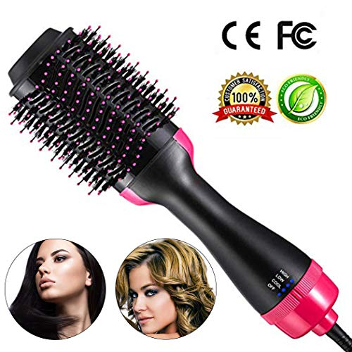 One Step Hair Dryer & Styler & Straightening Brush Volumizer Large Hot Air Hair Brush for All Hairstyle(1000W 110V) - Black Pink from PrettyQueen