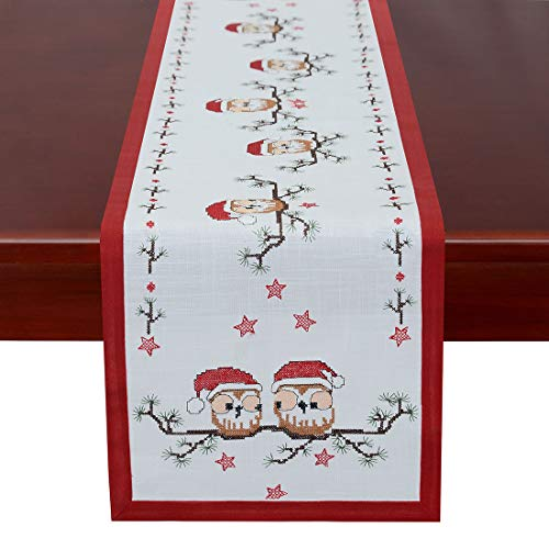 Simhomsen Holiday Table Runners, Christmas Owl Decorations, Cross Stitching (14 × 69 Inch) -