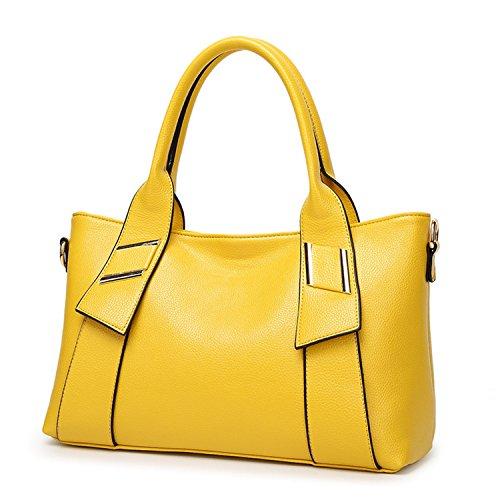 Availcx Bolso de cuero genuino de las mujeres Bolso de hombro portátil de las mujeres de la oficina Bolsos Totes amarillo