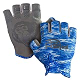 Fish Monkey Gloves Stubby Guide Gloves, Large, Blue Water Camo