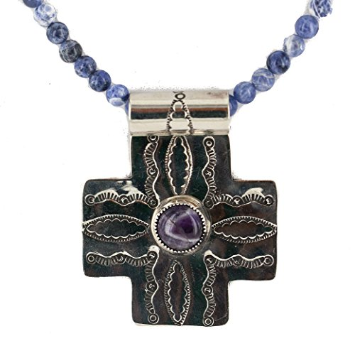 Large $920Tag Cross Silver Nickel Authentic Navajo Natural Turquoise Lapis Native American Necklace