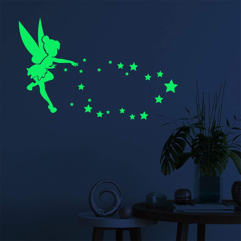 Vorname D/écoration lumineuse mignon interrupteur sticker mural autocollant nuit fluorescentes f/ée /étoile Pour d/écoration Maison Enfants Chambre