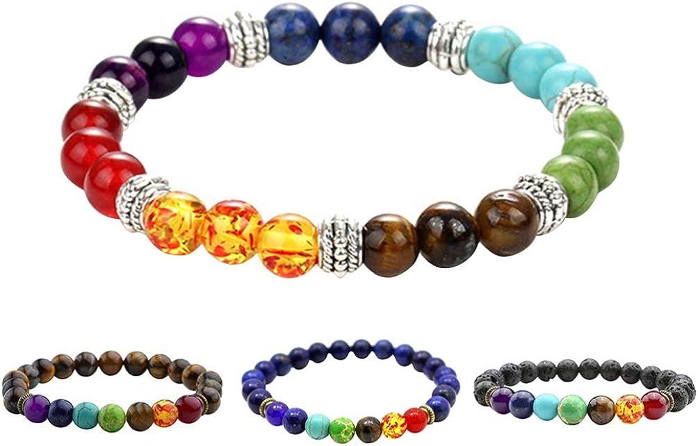 Heally - 4 pulseras de piedras preciosas de chakra con piedras de cristal de cuarzo para meditación, yoga, piedras de lava naturales para mujeres y hombres