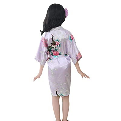 terbklf Toddler Baby Kids Girls Floral Soft Silk Satin Kimono Robes Bathrobe Sleepwear Elegant Slim Clothes Nightdress: Clothing