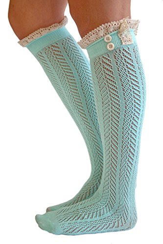 The Original Button Boot Socks with Lace Trim Boutique Socks by Modern Boho Aqua One Size