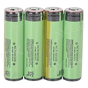 Panasonic Rechargeable 18650 3400mAh Li-ion Batteries - Yellowish Green + Black (4 PCS)