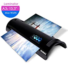 A6/A4/A3 Thermal Laminator, Laminating Machine with Two Roller System and Jam-Release Switch, Fast Warm-up, Quick Laminating Speed, for Home, Office and School (black laminator)