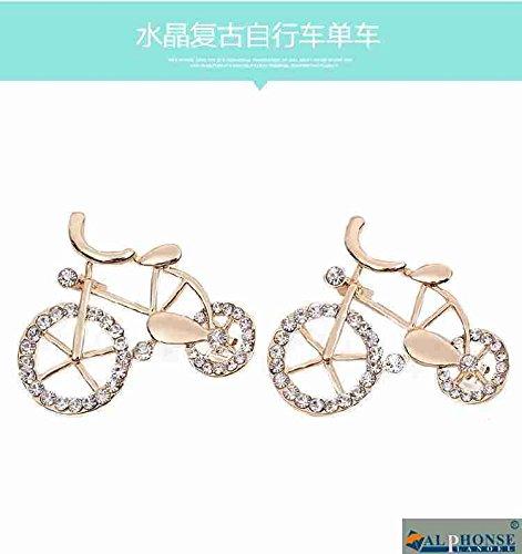 Bike Brooch Pin - Clothing decoration decorative scarf brooch pin crystal brooch pin retro bike cycling fashion personality diamond brooch