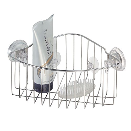 InterDesign Reo Power Lock Suction Bathroom Shower Corner Caddy Basket For New