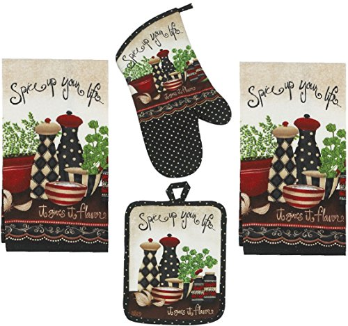 4 Piece Spice Up Your Life Kitchen Set - 2 Terry Towels, Oven Mitt, ()