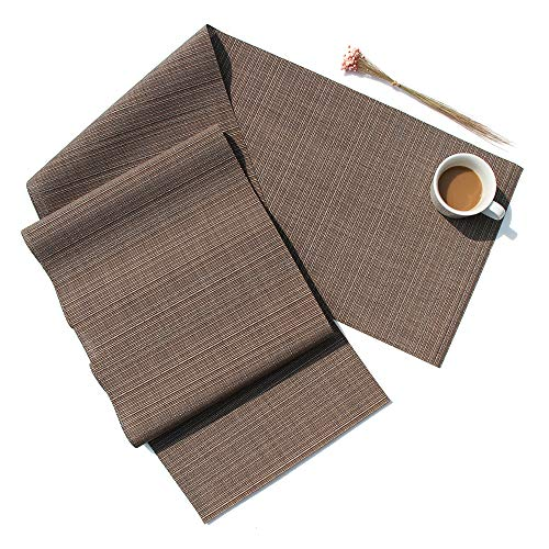 D-home Table Runner Durable Textilene Woven Vinyl for Kitchen Dining Table Washable Heat-Resistant PVC Table Runner (Coffee, 48