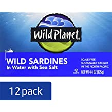 Wild Planet Wild Sardines in Water with Sea Salt – 4.4oz Can (Pack of 12)