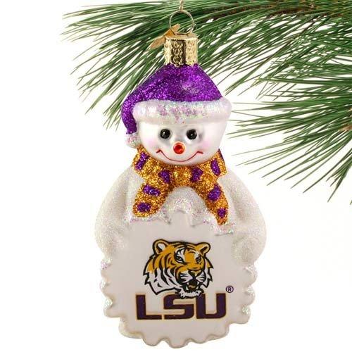 NCAA LSU Tigers Glass Snowman Ornament