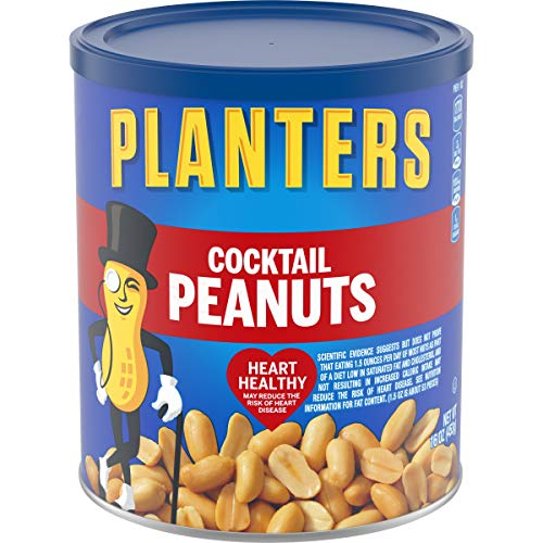 Planters Salted Cocktail Peanuts (16oz Canister, Pack of 3) (Large Extra Peanuts)