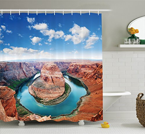 Ambesonne Room Decorations Collection  Horse Shoe Bend North Rim Grand Canyon Page Arizona Usa Famous Tourist Attractions  Polyester Fabric Bathroom Shower Curtain Set With Hooks  Sandy Brown