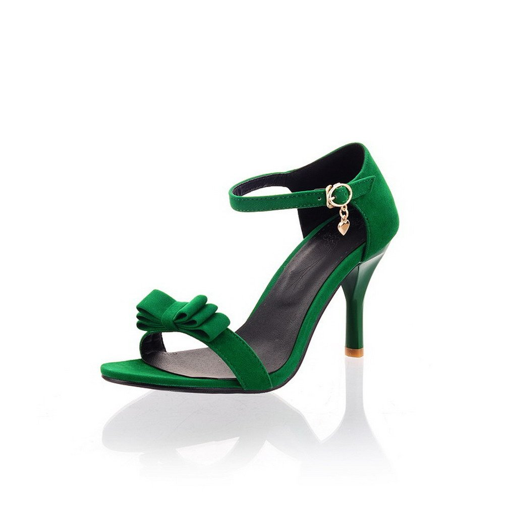 AllhqFashion Women's Frosted Buckle Open Toe High-Heels Solid Heeled-Sandals, Green, 36