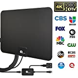 1byone HDTV Antenna, HD Digital Indoor TV Antenna UPGRADED 2018 VERSION, 50 Miles Long Range with Amplifier Signal Booster for 1080P 4K Free TV Channels, Amplified 10ft Coax Cable