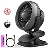 Clip on Fan, Portable Rechargeable Battery Operated Fan Small Desk Fan for Table, Office, Camping, Dorm, Baby Stroller