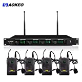 Aokeo 4-Channel Professional UHF Handheld & Lapel / Lavalier & Headset Wireless Transmitter System