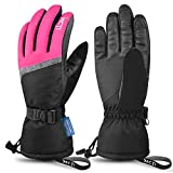 MCTi Ski Gloves,Winter Waterproof Snowboard Snow 3M Thinsulate Warm Touchscreen Cold Weather Women Gloves Wrist Leashes Rose Red Large