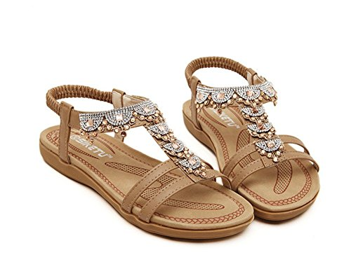 Sandals Toe Rhinestones T Khaki Flat Strap Open Beach With Aisun Women's Boho qw1Z8a