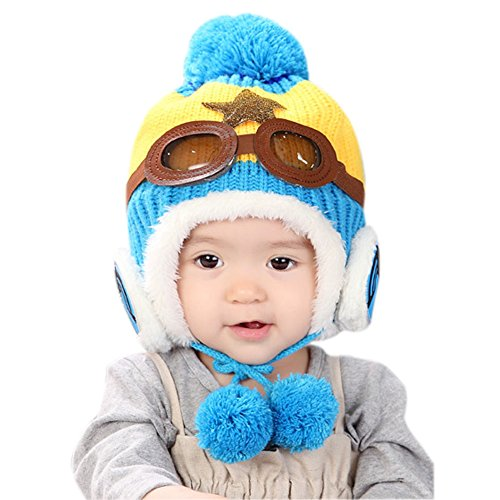 (6-24months)Baby Girls Boys Winter Earflap Hat Warm Lined Pilot Aviator Pom Cap (Lined Aviator)