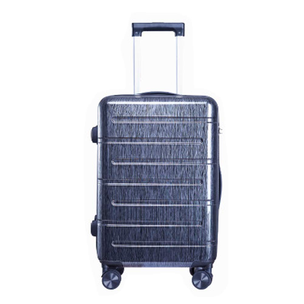 MARTER ZLX Lightweight PC Material Hard Shell 4 Wheel Travel Trolley Luggage Business Casual 24 inch Zipper Password Boarding Chassis-Black-S by MARTER