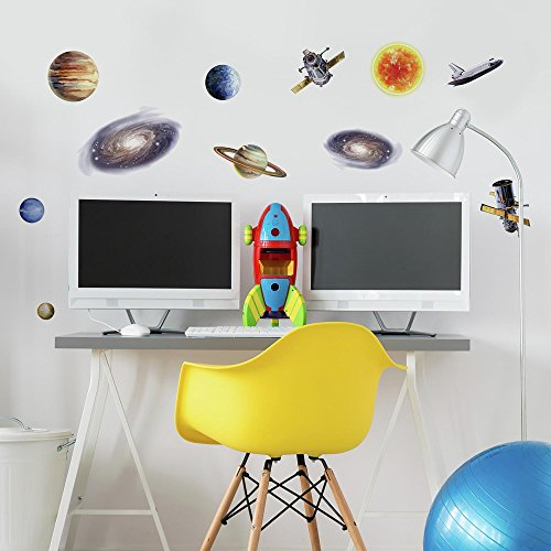 RoomMates RMK1003SCS Space Travel Peel and Stick Wall Decals by RoomMates