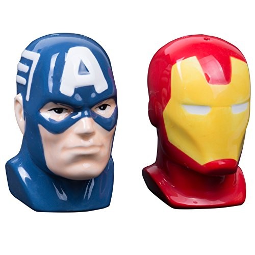 ain America and Iron Man Ceramic Salt and Pepper Shakers ()