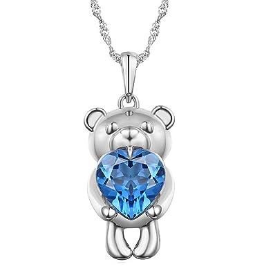 6e860138ea97 Plata de Ley Oso Show corazón I Love You collar colgante chapado en rodio azul  Circonita Novia  Amazon.es  Joyería