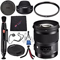 Sigma 50mm f/1.4 DG HSM Art Lens for Nikon F #311306 + Lens Pen Cleaner + Microfiber Cleaning Cloth + Lens Capkeeper + Deluxe Cleaning Kit + Flexible Tripod Bundle (International Model No Warranty)