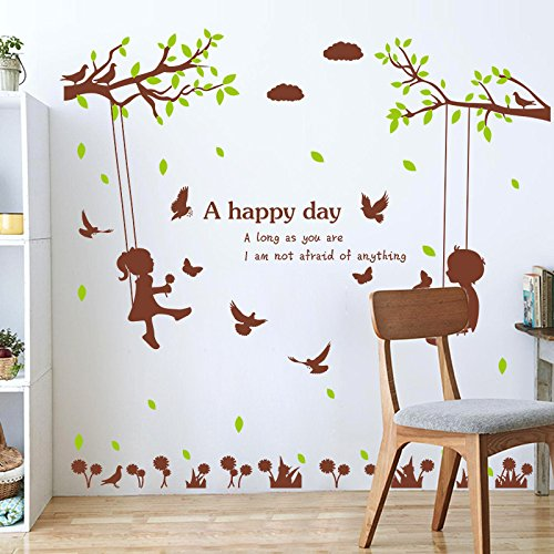 Wall Stickerscute Sticker Wall Paste Bedroom Living Room Decoration Couple Wall Paste Warm Wallpaper Self-Adhesive,Swing,Extra ()
