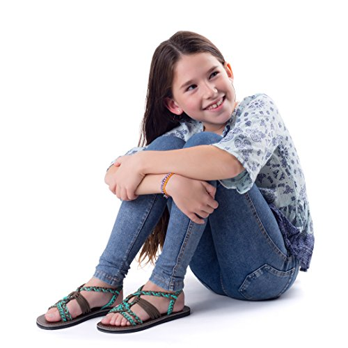Plaka Flat Summer Sandals for Girls by Turquoise Gray 13 Twist by Plaka (Image #4)