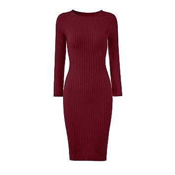 943a049d409 Cvbndfe Confortable Femmes Dames col Rond Solide Manches Longues Slim Fit Robe  Pull en Tricot côtelé
