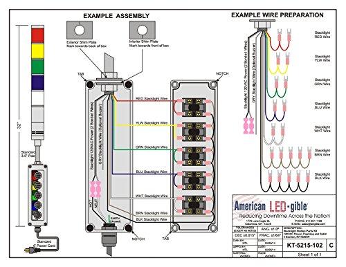 LED Tower Light Station Kit, LED Andon Light Kit KT-5211-102, LED Stacklight Kit, Flashing Capable, 120V, Red, 3 Pos Steady/Off/Flashing