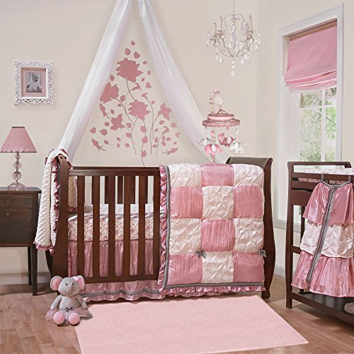 Satin Crib Bedding Set - Bella 6 Piece Baby Crib Bedding Set by The Peanut Shell