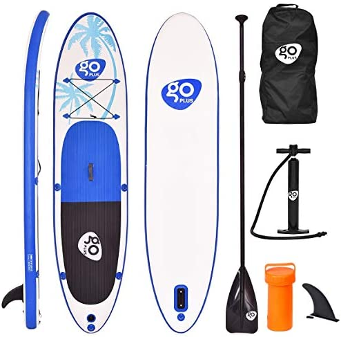 Goplus 10 11ft Inflatable Stand Up Paddle Board, 6 inch Thick Non-Slip Deck, with Free Premium SUP Accessories, Backpack, Adjustable Paddle, Dual-Action Pump, for Beginner and Professional