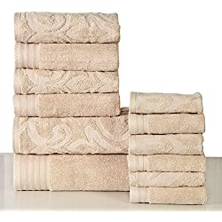 600 GSM Cotton 12 Piece Towel Set (Linen): 1 Jacquard and 1 Solid Bath Towel, 2 Jacquard and 2 Solid Hand Towels, 3 Jacquard and 3 Solid Washcloths, Long-staple Cotton, Absorbent, Machine Washable