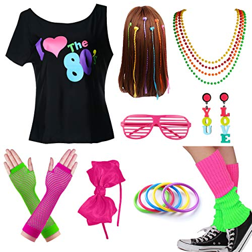I Love The 80s Halloween Costumes (Kids I Love The 80s Tshirt Girl Halloween Costume Accessories Fancy Outfits (8-10, Hot)