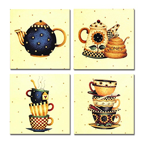 SpecialArt - Series Paintings Wall Art - Colorful Tea Pot and Teacup with Faint Yellow Background painting - 4 Panels Picture Print on Canvas for Modern Home Decor