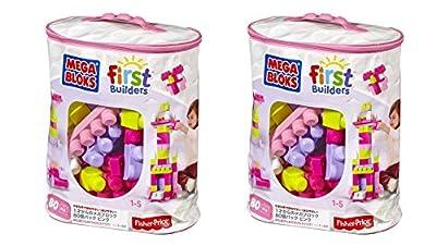 Mega Bloks PpMard 80 Piece Big Building Bag, Classic, Pink, 2 Units