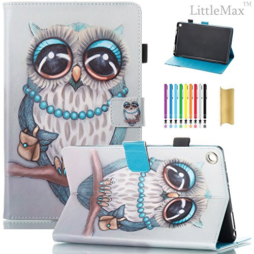 Fire HD 8 Case,LittleMax PU Synthetic Leather Case Flip Cover with Auto Wake / Sleep for Amazon Kindle Fire HD 8 7th Gen 2017 Release & 6th Gen Release 2016 with Free Stylus-03 Blue Owl (Case Tablet Owl)