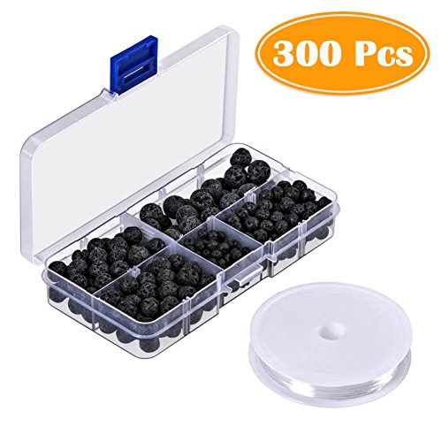 Paxcoo 300pcs Black Lava Stone Round Loose Beads with Free Crystal String for Jewelry Making by PAXCOO