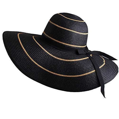 FURTALK Women Wide Brim Sun Hat Summer Beach Cap UPF50 UV Packable Straw Hat for Travel (Medium Size (22.1''-22.6''), WideBrim Black KhakiStripe) ()